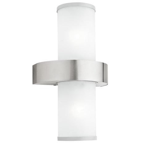 EGLO 86541 - Āra sienas gaismeklis BEVERLY 2xE27/60W sudraba / balts
