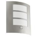 EGLO 88142 - Āra sienas gaismeklis ar sensoru CITY 1xE27/15W/230V IP44