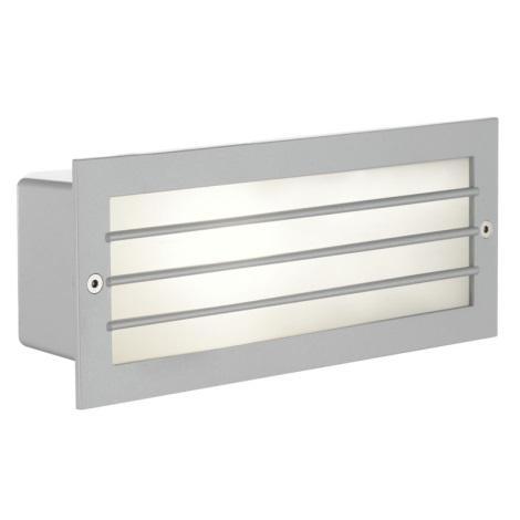 EGLO 88576 - Āra sienas gaismeklis ZIMBA 1xE27/60W sudraba/balts IP44