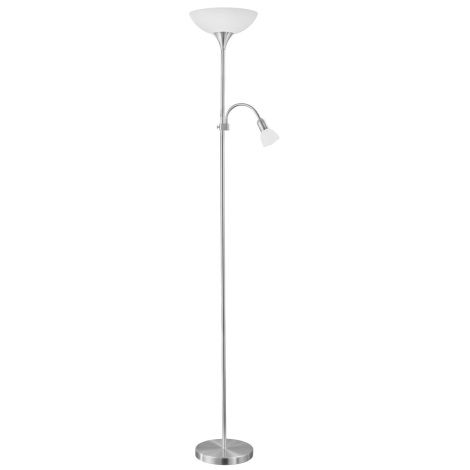 EGLO - Grīdas lampa 1xE27/60W + 1xE14/25W niķeļa